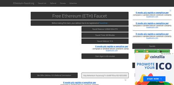 Ethereum faucet: how to make money and get referrals for free